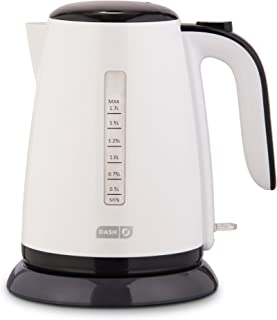 Dash DEZK003WH Easy Electric Kettle + Water Heater with with Rapid Boil, Cool Touch Handle, Cordless Carafe + Auto Shut off for Coffee, Tea, Espresso & More, 57 oz. / 1.7L, White