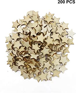 UPlama 200PCS Small 1 inch Size Wood Stars Cutout Shape, DIY Decorating Photo Props for Arts, Crafts & Sewing.(25mm)