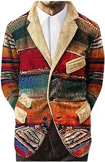 MMOOVV Mens Rainbow Print Single Breasted Pockets Corduroy Suit Long Sleeve Coat Jackets