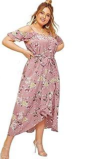 5973c4586 Milumia Women's Plus Size Cold Shoulder Floral Slit Hem Tropical Summer  Maxi Dress