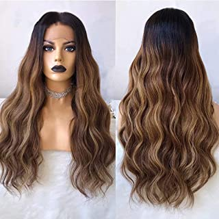 Jiduoyi Wig Loose Wave 13x6 Lace Front Ombre Brown Human Hair Wig for Black Women Colored with Baby Hair Pre Plucked Brazilian Remy Hair Glueless 150 Density