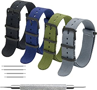 CIVO NATO Strap 4 Packs - 16mm 18mm 20mm 22mm 24mm Premium Ballistic Nylon Watch Bands Zulu Style with Stainless Steel Buckle