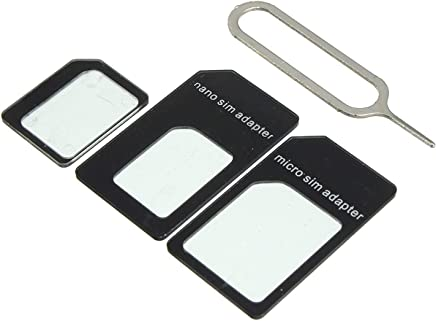 Storite Sim Card Adapter Nano To Micro - Nano To Regular - Micro To Regular With Eject Pin (Black)
