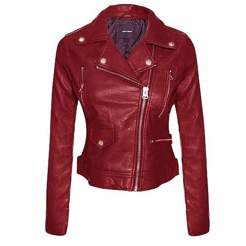 0ea766999cc Instar Mode Women s Long Sleeve Zipper Closure Moto Biker Faux Leather Suede  Jacket