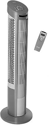 Seville Classics UltraSlimline 40 in. Oscillating with Steel Intake Grill Tower Fan, Gray
