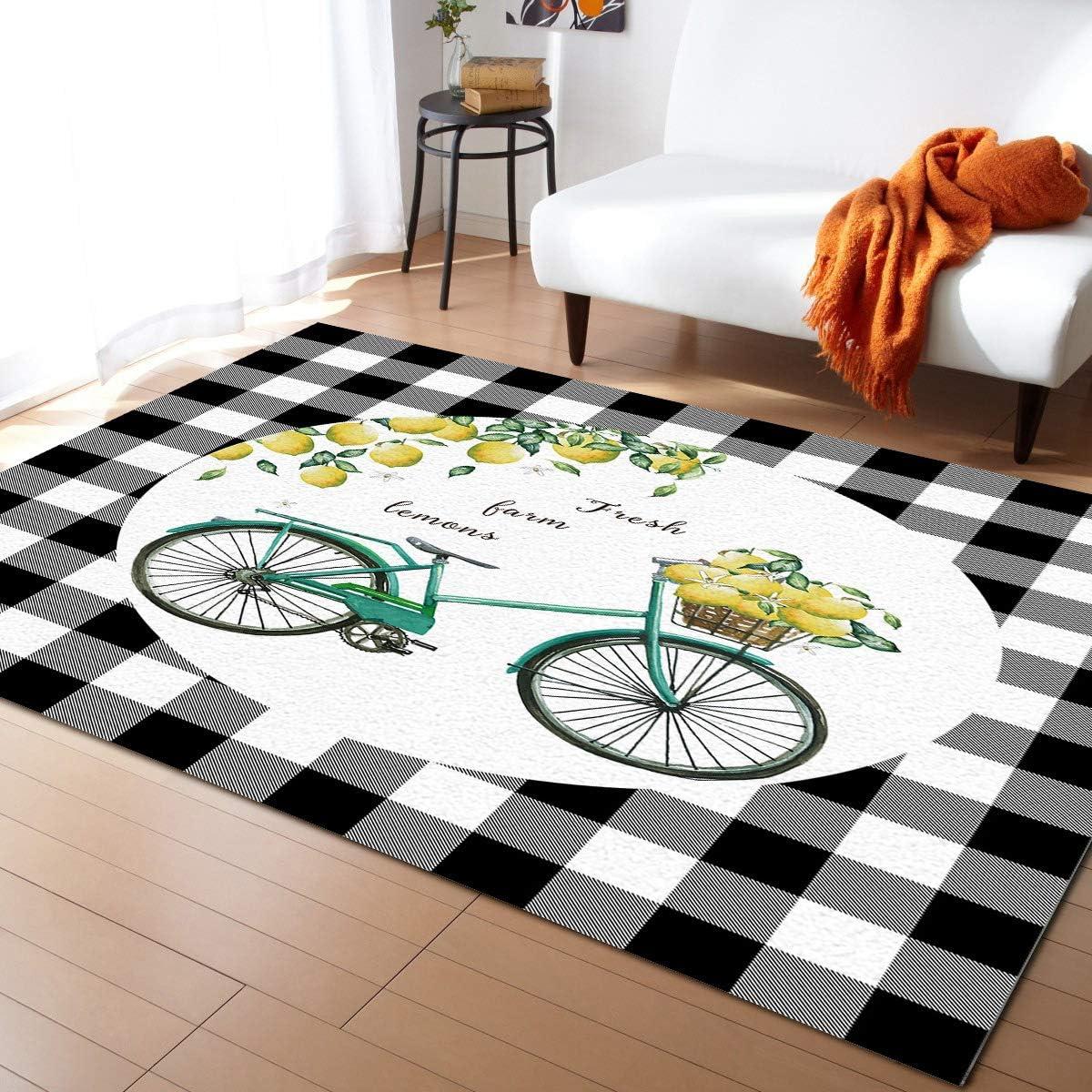 Aomike ☆正規品新品未使用品 Indoor Area Rug Doormat- Black Check Buffalo Lemon C 店内全品対象 Bike