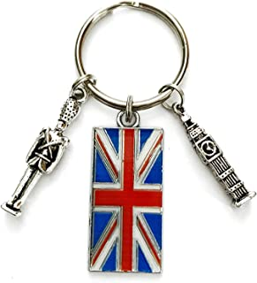 London Great Britain theme keychain. Includes Union Jack, Big Ben, and Beefeater themed charms