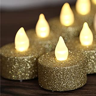 Tea Lights Candles,Gold LED Tea Lights,Tea Lights Battery Operated,Gold Glitter Flameless Tea Lights For Wedding Festival Christmas Decorations, Pack of 12