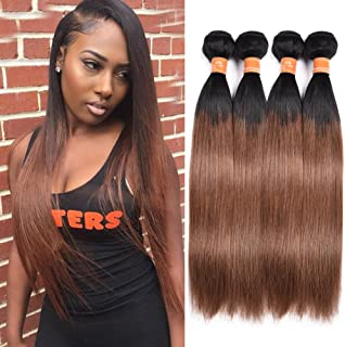 1B/30 Ombre Brazilian Hair Straight 4 Bundles Deals Color Black to Dark Brown 8A Remy Silky Straight Virgin Human Hair Sew in Weave (20