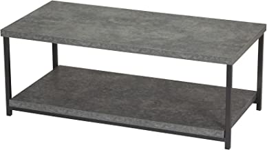 Household Essentials Coffee Table with Storage Shelf | Faux Slate Concrete