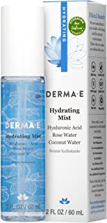 DERMA-E Hydrating Face Mist with Hyaluronic Acid, (0469) Rose 2 Fl Oz