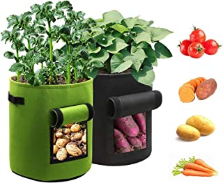Garlifden Plant Grow Bags, with Flap & Handles 7 Gallon Thickened Breathable Fabric Garden Container Vegetable Flower Pot,...