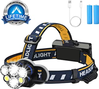 Headlamp Flashlight,6 Head lamps USB brightest Rechargeable Headlight 12000 lumen Waterproof 8 Modes for outdoor camping (6 Led Orange)