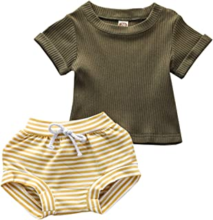 TROSJ Toddler Baby Girls Clothes Long Short Sleeve T-Shirt Tops + Stripe Fall Outfits Set+One Piece Knitted Rompers Outfits