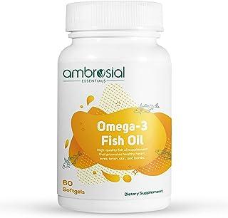 Ambrosial Omega 3 Fish Oil | 1000mg Omega 3 Fatty Acid capsules with 180 mg EPA 120 mg DHA - 60 Softgels | Omega 3 Fish Oi...