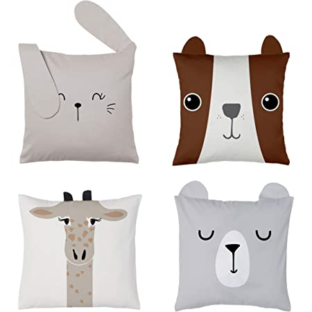 RainMeadow Kids Throw Pillow Cover Set of 4, 16'x16', Cute Cotton Cushion Covers for Girls and Boys, Toddlers or Baby   Decorative Pillows for Kids   Cojines Decorativos Niña o Niño