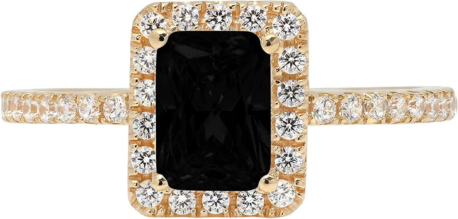 1.85ct Brilliant Emerald Cut Solitaire with accent Flawless Natural Black Onyx Gemstone Ideal VVS1 Engagement Promise Anniversary Bridal Wedding Designer Ring 14k Yellow Gold