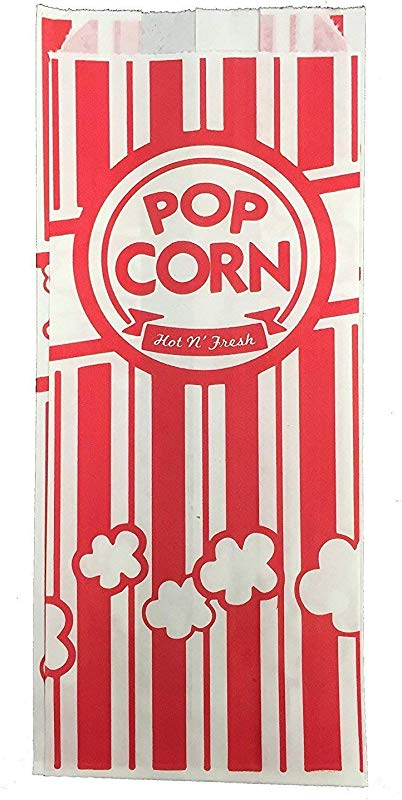 Carnival King Paper Popcorn Bags 1 Oz Red White 100 Pieces