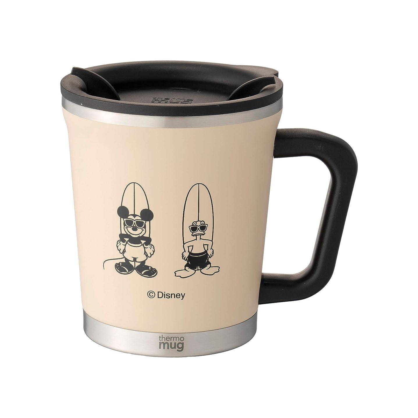 殺人タイトル酒THERMO MUG ダブルマグ(フタ付きステンレスマグカップ) アイボリー 300ml 『サーフスタイル ミッキー』 DM-SSM