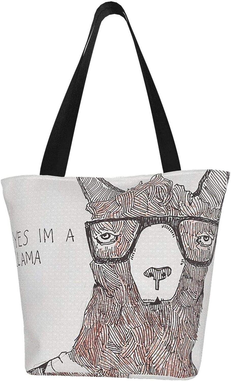 Lovely Art Glasses Llama Themed Printed Women Canvas Handbag Zipper Shoulder Bag Work Booksbag Tote Purse Leisure Hobo Bag For Shopping