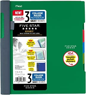 """Five Star Advance Spiral Notebook, 3 Subject, College Ruled Paper, 150 Sheets, 11"""" x 8-1/2"""" Sheets Size 1 Pack"""