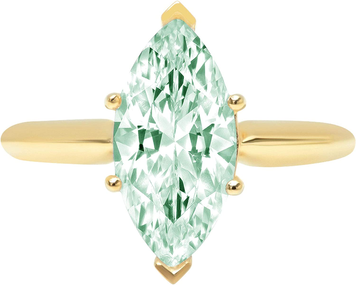 2.4ct Brilliant Marquise Cut Solitaire Light Sea Green Simulated Diamond Cubic Zirconia Ideal VVS1 D 6-Prong Engagement Wedding Bridal Promise Anniversary Ring Solid 14k Yellow Gold for Women
