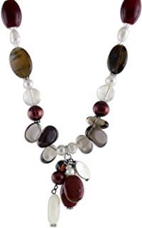 Multi-Gem Cultured Freshwater Pearl .925 Sterling Silver...