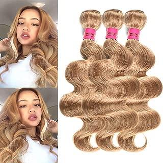 INSTASTYLE Brazilian Virgin Human Hair #27 Honey Blonde Body Wave Brazilian Hair Weave 3 Bundles Remy Human Hair Extensions(14