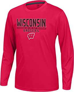 J America NCAA Wisconsin Badgers Boys Youth School Slogan Long Sleeve Callout Poly Tee, Red, Small
