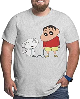 JacobCole Men's Crayon-shin Chan and Dog Pet Casual Big Size Tee T-Shirts Short-Sleeve Freestyle Tee Top Gray