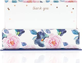 Graphique Navy and Pink Floral Flat Notes – Stationery with Floral Design and Gold Foil, Printed