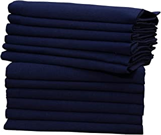Glus Cotton Cloth Navyblue Napkins 12 Pack 18X18 Inch (45X 45 Cms) Dinner Napkins Soft & Comfortable Reusable Soft Napkin...