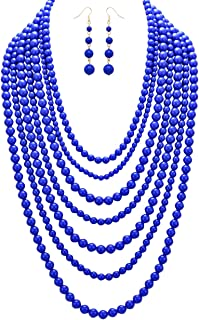 Women's Fashion Jewelry Set Beaded Multi Strand Bib Necklace and Drop Earrings