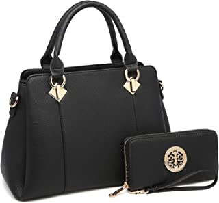 Women's Fashion Leather Handbags Satchel Stylish Handbag Wallet 2 Pcs Set Purse Tote Bags