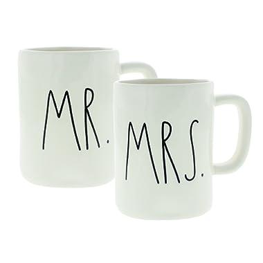 Rae Dunn Artisan Collection Mr. & Mrs. Set of (2) Mugs By Magenta, White