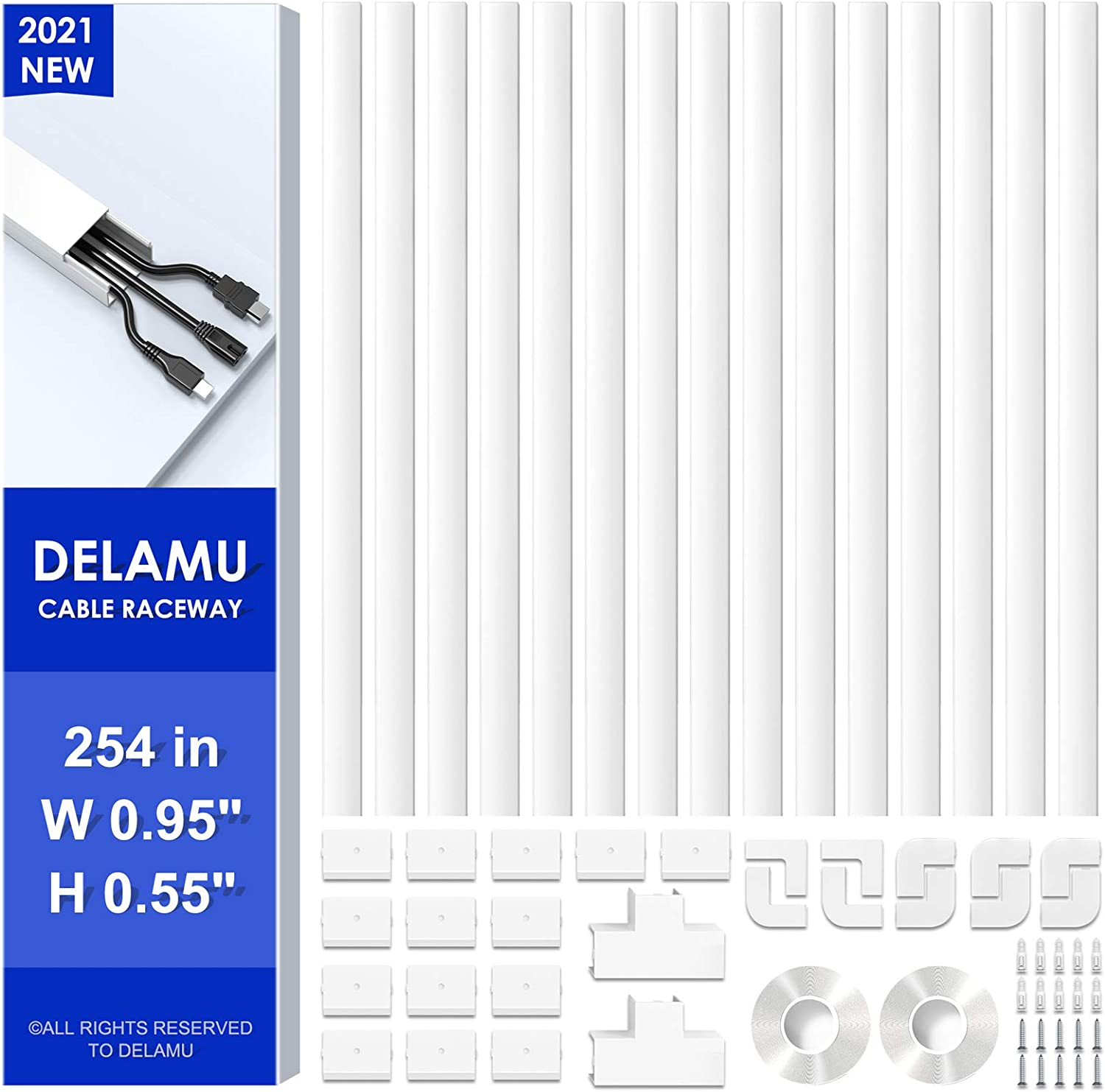254in Cord Hider Cover, Delamu Cable Concealer Raceway, PVC Cable Hider Cover, Cuttable Wire Cover Hider for TV on Wall, 15x L16.9in W0.95in H0.55in, CC01-15White
