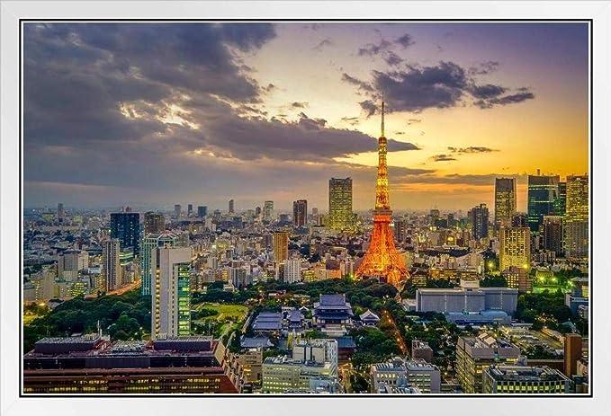 SZZWY 7x5ft Tokyo Night Skyline Backdrop Vinyl Flourishing Tokyo Metropolis Panorama Cityscape Skyscrapers Shining Tokyo Tower Landmark Background Event Activities Shoot Landscape Wallpaper