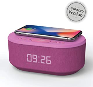 Bedside Radio Alarm Clock with USB Charger, Bluetooth Speaker, QI Wireless Charging, Dual Alarm & Dimmable LED Display (Purple)