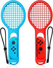 Tennis Racket Compatible with Nintendo Switch, Keten Twin Pack Tennis Racket for Joy-Con Controllers for Mario Tennis Aces Game, Grips for Switch Joy-Cons (1X Blue & 1X Red)