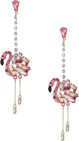 Betsey Johnson - Pink and Rose Gold Linear Drop Flamingo Earrings