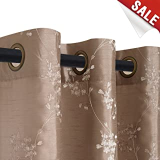 Faux Silk Floral Embroidered Curtains for Living Room Bedroom Embroidery Semi Sheer Curtain for Living Room 95 inches Length Grommet Top 1 Pair, Taupe