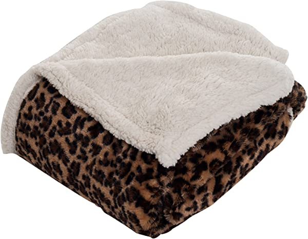 Lavish Home Throw Blanket Fleece Sherpa Leopard