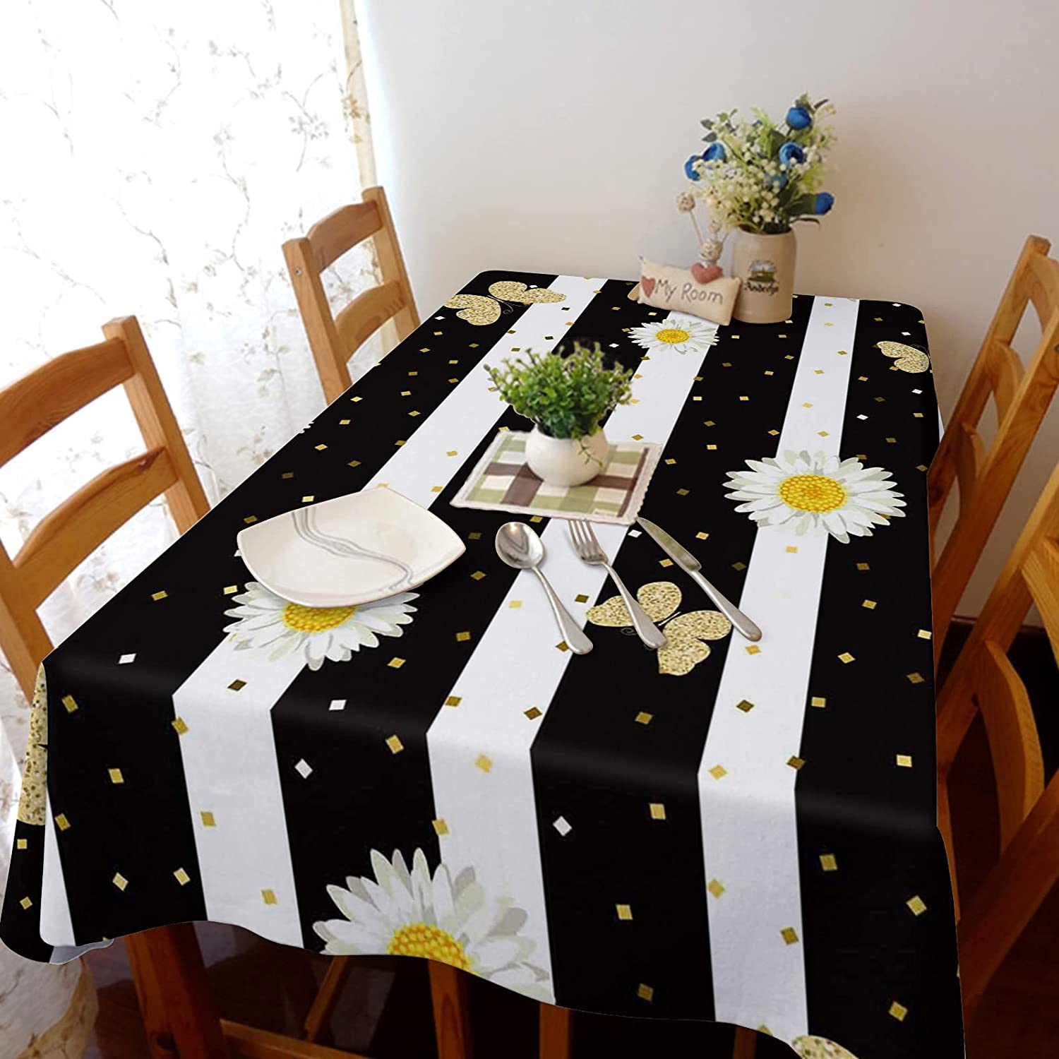 Ranking TOP19 Tablecloth for Rectangle Table Daisy on Tucson Mall Butterfly W Flower Black