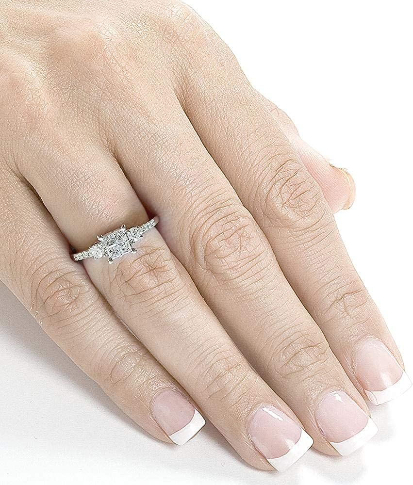 Kobelli Diamond Three-Stone Engagement Ring 3/8 carat (ctw) in 14K White Gold