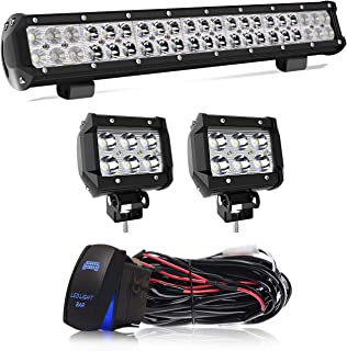 20 Inch LED Light Bar 126W Spot Flood Combo LED Bar 2PCS 4Inch Spot Pods Cubes with Rocker Switch Wiring Harness for Jeep Ford Polaris Toyota Tacoma GMC Chevy ATV,1Years Warranty
