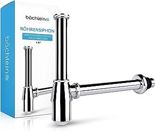 Bächlein Tassensiphon Universal für Waschbecken & Waschtisch, Geruchsverschluss mit Reinigungsöffnung  Einbauanleitung - Abflussgarnitur passgenau - Designsiphon Ablaufgarnitur Flaschensiphon