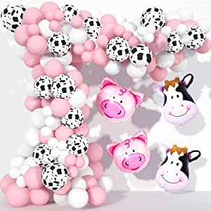 Cow Party Decorations 130 Pcs, TOPLLON FarmAnimalBalloonGarland Kit with Cow Print Balloons, White Baby Pink Latex Balloons for Girls Birthday Party
