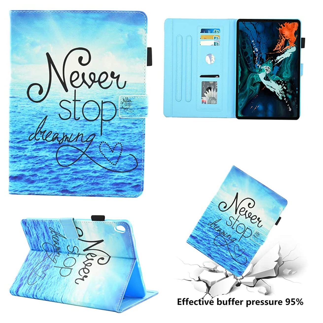 Greatlong Case for iPad Pro 11 Inch,4 Cards Slots Stand Case Auto Wake/Sleep Cover Slim Fit PU Leather Case for Apple iPad Pro 11 Case 2018,Never Give Up