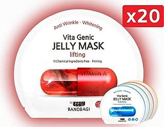 [Banobagi Cosmetics] Vita Genic Jelly Face Mask (Pack of 20)|K Beauty Sheet Mask Set| Korean Face Masks: Sheets for Facial Mask Skin Care for men and women | best kbeauty face masks in bulk facemask