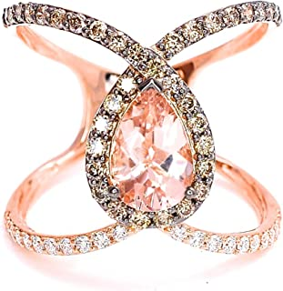 LeVian Peach Morganite Chocolate Diamonds Criss Cross Multi Row Lace Ring in 14K Rose Gold Size 7
